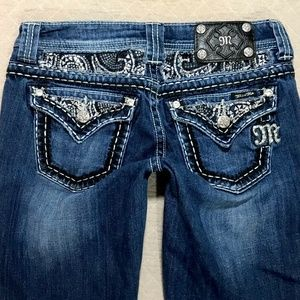 Miss Me Boot Low rise Rhinestone flap jeans 27